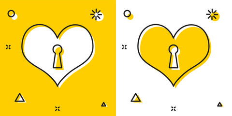 Black Heart with keyhole icon isolated on yellow and white background. Locked Heart. Love symbol and keyhole sign. Random dynamic shapes. Vector Illustration