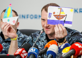 Ukrainian sailor, Hrytsenko, detained by Russia in the Kerch Strait last year and released in recent Ukraine-Russia prisoners' swap, attends a news conference in Kiev
