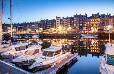 HONFLEUR, FRANCE - MAY4, 2018:Waterfront reflection of traditional houses in Honfleur, Normandy, France Fotomurales