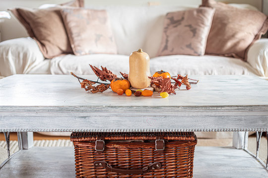 autumn table decoration in a cozy living room, wicker basket, pillows, leaves pumpkin, butternut squash, autumn leaves, orange colour, arrangement,rustic table and sofa with blanket, nordic style