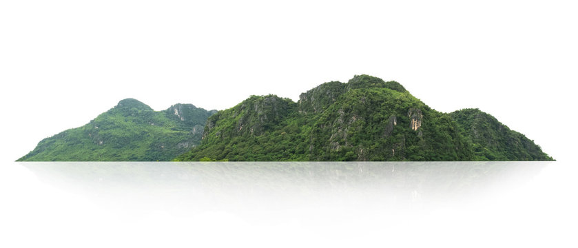 rock mountain hill with  green forest isolate on white background