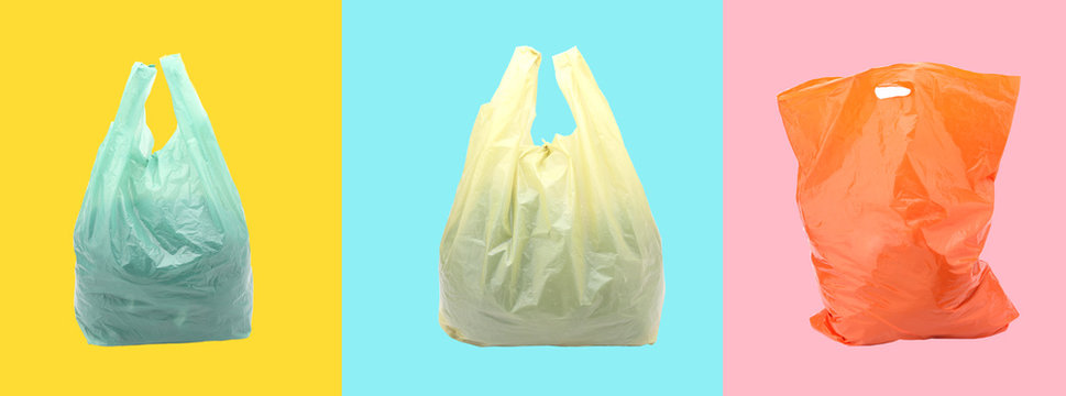 Plastic bag on a colorful background.