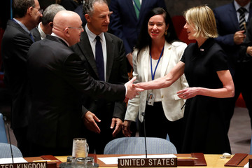 U.S. Ambassador to the United Nations Kelly Craft greets Russian Ambassador to the U.N. Vasily Nebenzya during U.N. Security Council meeting at U.N. headquarters in New York