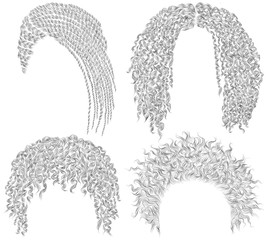 set of  different dreadlocks cornrows  .round, disheveled,  curly hairs . fashion beauty african style . fringe  pencil drawing sketch .
