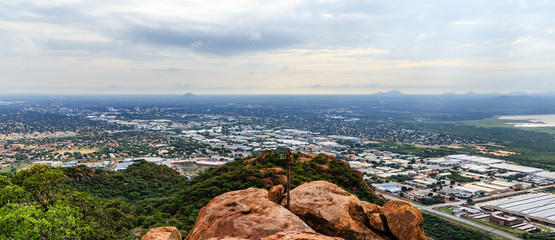 Aerial view of rapidly sprawling Gaborone city spread out over the savannah, Gaborone, Botswana, Africa