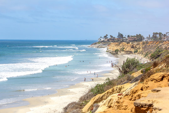 Carlsbad bluffs in California overlooking the beach and Pacific Ocean