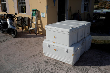 Coolers are seen in a facility used by the NGO World Central Kitchen before a food distribution operation after Hurricane Dorian it the Abaco Islands in Marsh Harbour