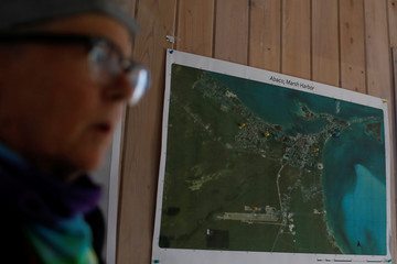 A map of Marsh Harbour is seen in a facility used by the NGO World Central Kitchen during a meeting before a food distribution operation, after Hurricane Dorian hit the Abaco Islands in Marsh Harbour