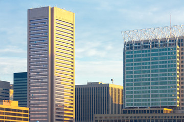 Close up  of buildings at downtown, Inner Harbor waterfront, Baltimore, Maryland, USA