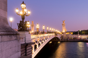 Panoramic view of the Pont Alexandre III bridge illuminated in evening with the Seine River. 8th Arrondissement, Paris, France