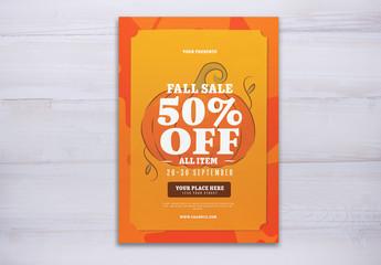 Orange Fall Sale Flyer Layout