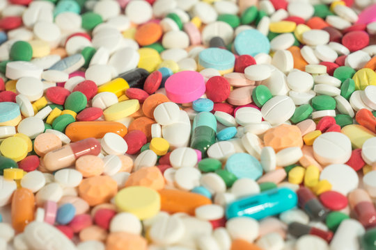 Different drug pills and tablet also included antibiotics capsule.