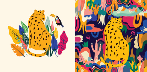 Tropical vector colorful illustration with leopard, flowers, leaves and toucan. Wall mural