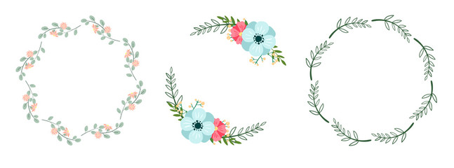 Set of romantic botanical wreaths isolated on white. Floral vector frames.