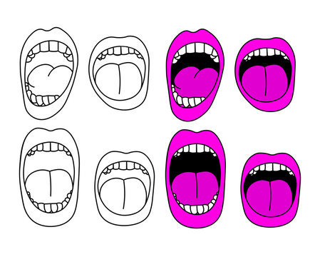 Set of cartoon screaming mouths vector illustration.