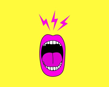 Cartoon screaming mouth vector illustration.
