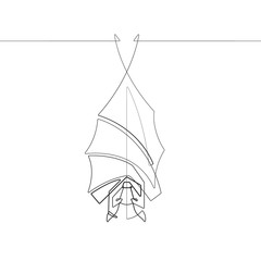 Foto op Plexiglas One Line Art A Hanging Vampire Bat One Single Line Animal Vector Graphic Abstract Illustration