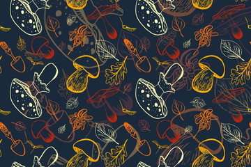 Hand drawn autumn pattern with cartoon leaves, mushrooms and berries