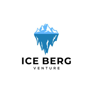 Illustration of an iceberg logo above and below water surface