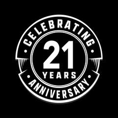 Celebrating 21st years anniversary logo design. Twenty-one years logotype. Vector and illustration.