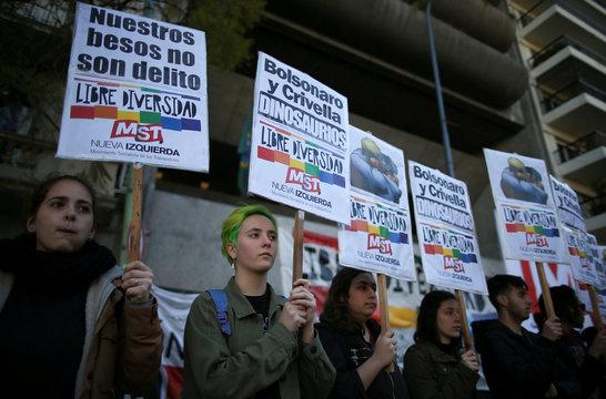 Demonstrators protest against Rio de Janeiro's Mayor Marcelo Crivella, in Buenos Aires