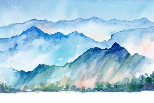 hand drawn watercolor mountain landscape