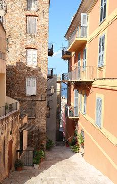 Street of Corsican city Bastia, Corsica island, France.