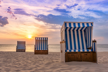 Three Beach Chairs at Kampen beach on the island Sylt Fototapete