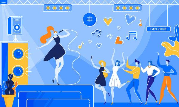 Woman Sing Song on Nightclub Stage People Dance