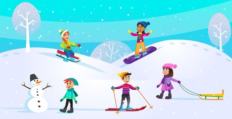 Poster Turkoois Winter Activities, Holiday Scene with Children.