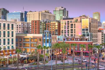 Fototapete - San Diego, California cityscape at the Gaslamp Quarter.