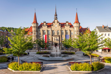 Walbrzych, Poland - picturesque neo-gothic town hall at Magistracki Square Wall mural