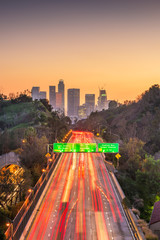 Los Angeles, California, USA skyline and highway