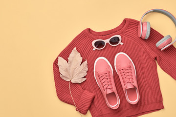 Hipster DJ trendy colorful autumn Outfit. Fall fashion minimal Flat lay. Red jumper, Stylish...