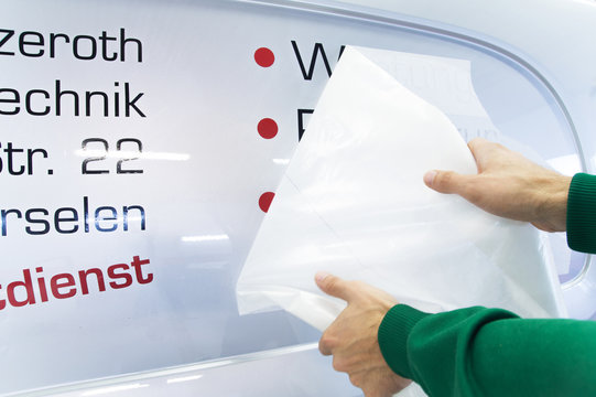 Advertising technology / Autobrifting with stickers / Labeling with adhesive film