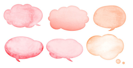 Watercolor light pink and red speech bubbles