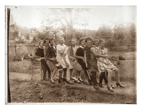 Vintage portrait teenager girls playing outdoors