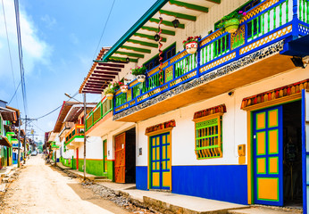 View on Jerico, Colombia, Antioquia, streets of the colonial city, Colombia