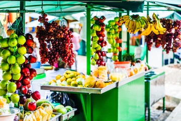 View on fruits on market in the village of Jardin, Colombia