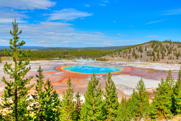 Grand Prismatic Spring Geyser in Yellowstone National Park