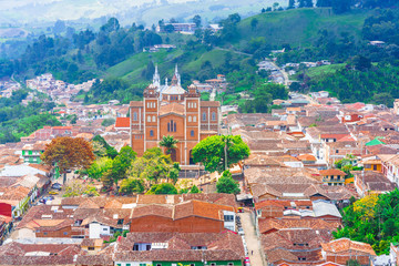 View on aerial view of village Jerico antioquia, Colombia