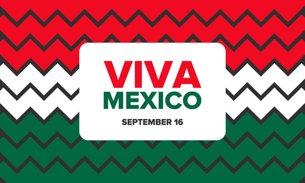 Viva Mexico. Mexican Independence Day. Happy holiday. Celebrate annual in September 16. Freedom day. Patriotic mexican design. Poster, card, banner, template, background. Vector illustration