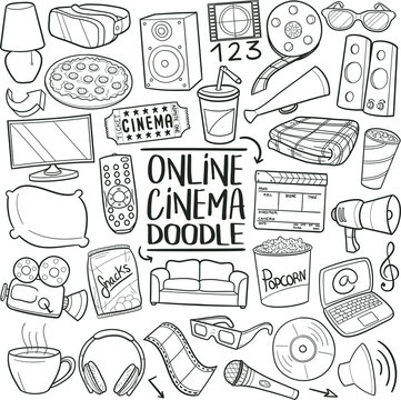 Online View Cinema. Home Film Day. Traditional Doodle Icons. Sketch Hand Made Design Vector Art.