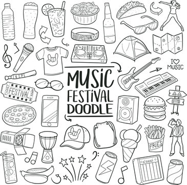 Music Festival Party. Traditional Doodle Icons. Sketch Hand Made Design Vector Art.