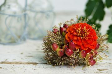Fototapete - Miniature flower bouquet in a little bottle