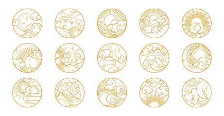 Asian circle pattern set with clouds, moon, sun, stars . Vector collection in oriental chinese, japanese, korean style. Line hand drawn illustration isolated on white background. Retro elements set.