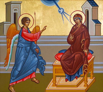 Vranov, Slovakia. 2019/8/22. Icon of the Annunciation – the announcement by the Archangel Gabriel to the Virgin Mary that she would conceive and become the mother of Jesus. Convent of the Holy Trinity