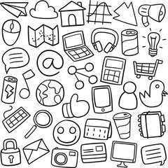 Social Media Work Traditional Doodle Icons Sketch Hand Made Design Vector