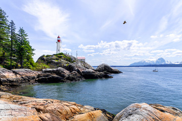 Lighthouse Park in Vancouver as a Composite Image with Added Elements