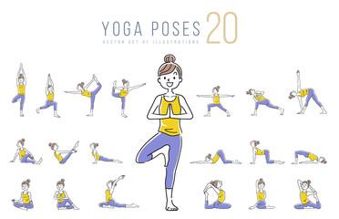Illustration material: woman, yoga, pose, set, variation